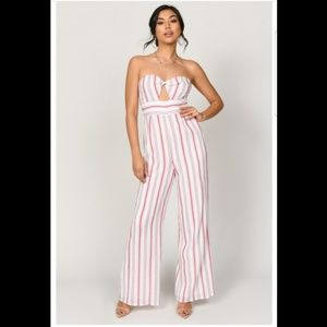 Carrie Red Multistripe Strapless Jumpsuit